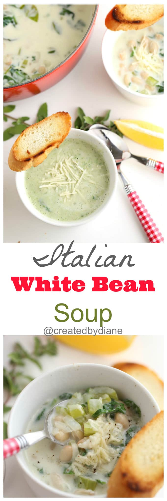 Italian White Bean Soup Recipe with Lemon from @createdbydiane