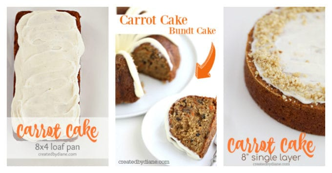 carrot cake recipes, different pan options createdbydiane.com