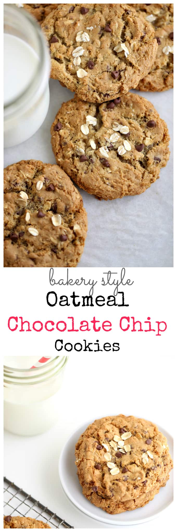 bakery style oatmeal chocolate chip cookies @createdbydiane