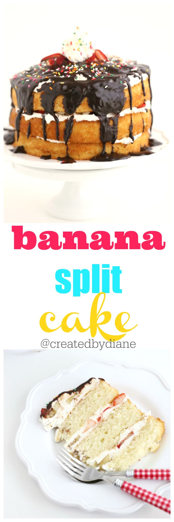 banana split cake recipe can be made in an HOUR!!! @createdbydiane