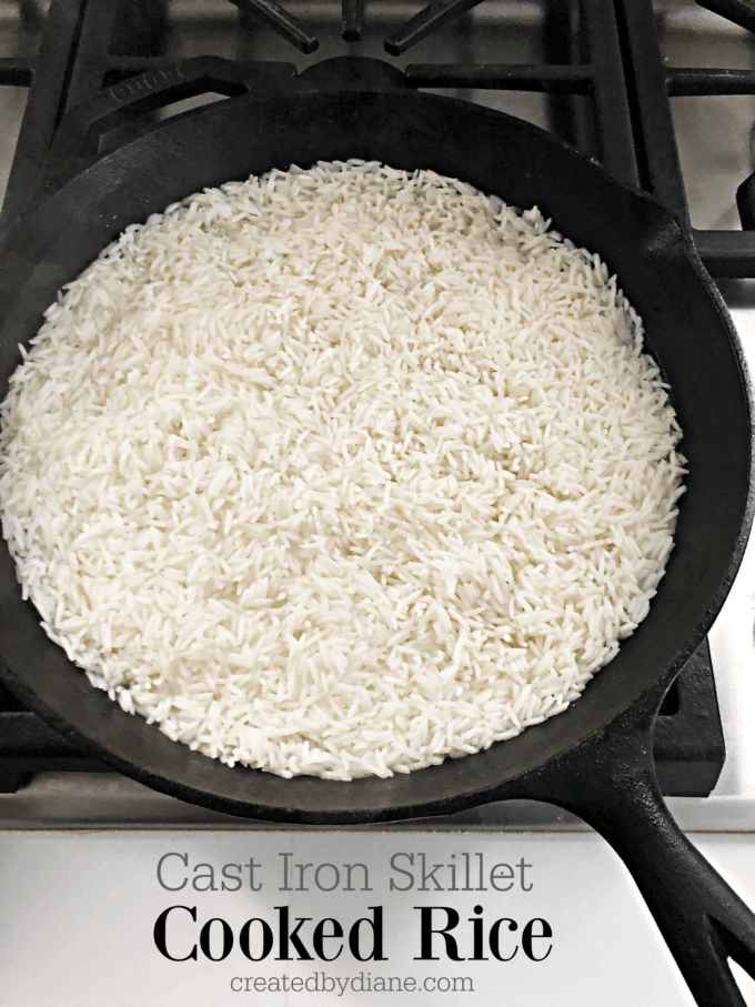 cooking rice in a cast iron skillet