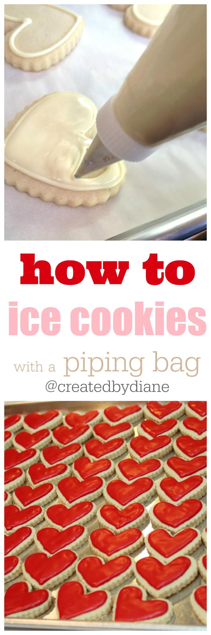 how to ice cookies with a piping bag, tips, tricks and recipes @createdbydiane