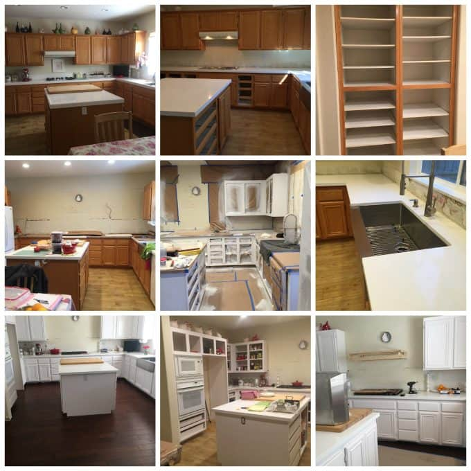DIY kitchen remodel , cabinets, flooring, sink, stove, white kitchen, @createdbydiane