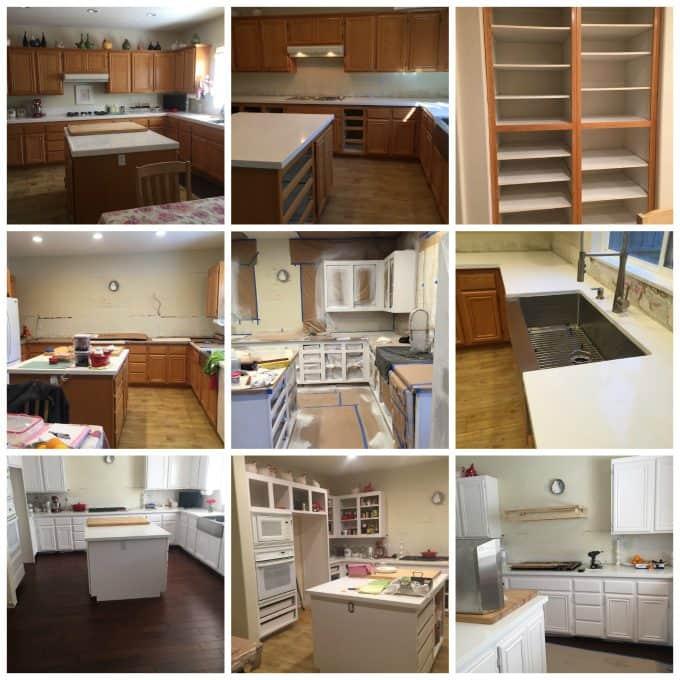DIY kitchen remodel , cabinets, flooring, sink, stove, white kitchen, @createdbydiane