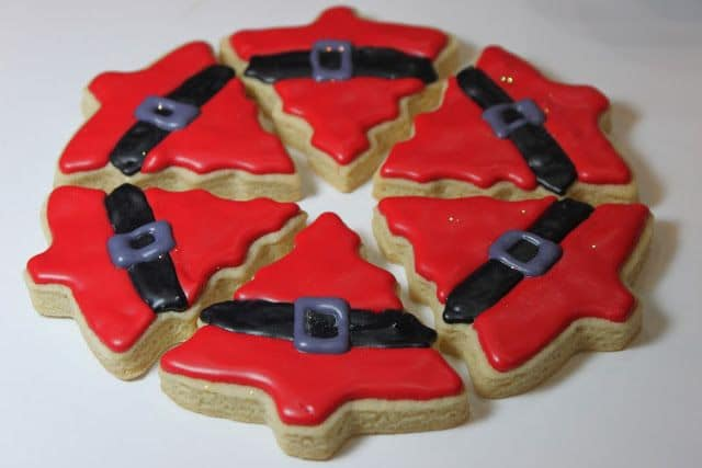 santa suit tree cookies with glaze icing
