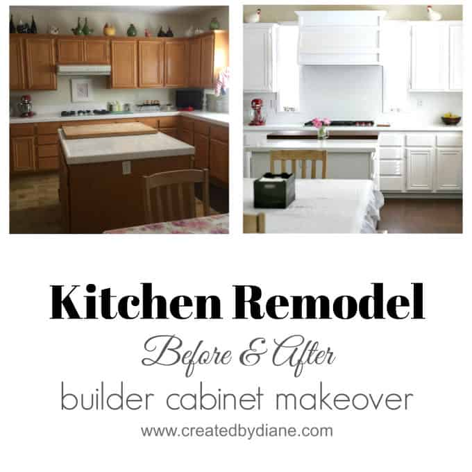 White Kitchen Remodel, kitchen makeover, before and after, builder cabinet makeover www.createdbydiane.com.jpg