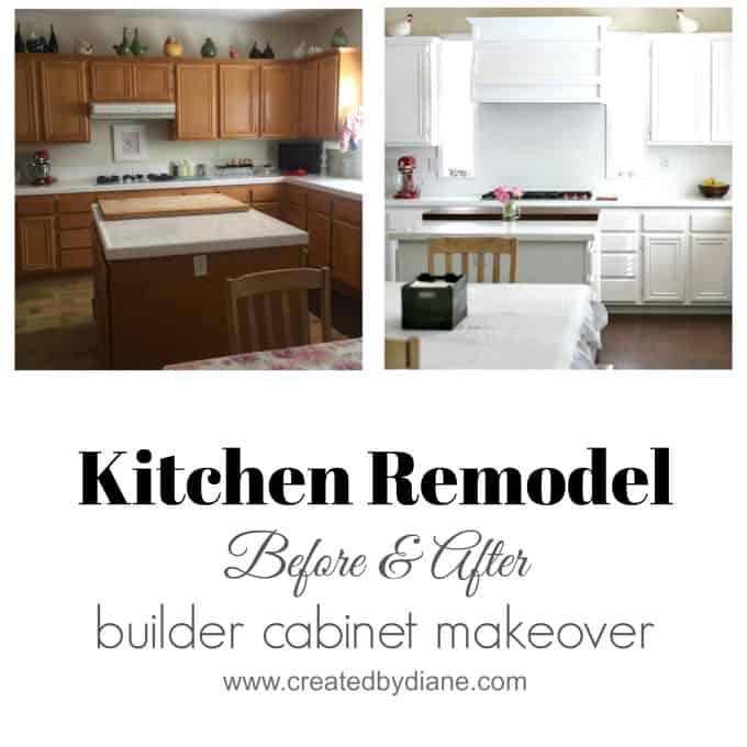 White Kitchen Remodel, kitchen makeover, before and after, builder cabinet makeover www.createdbydiane.com.jpg