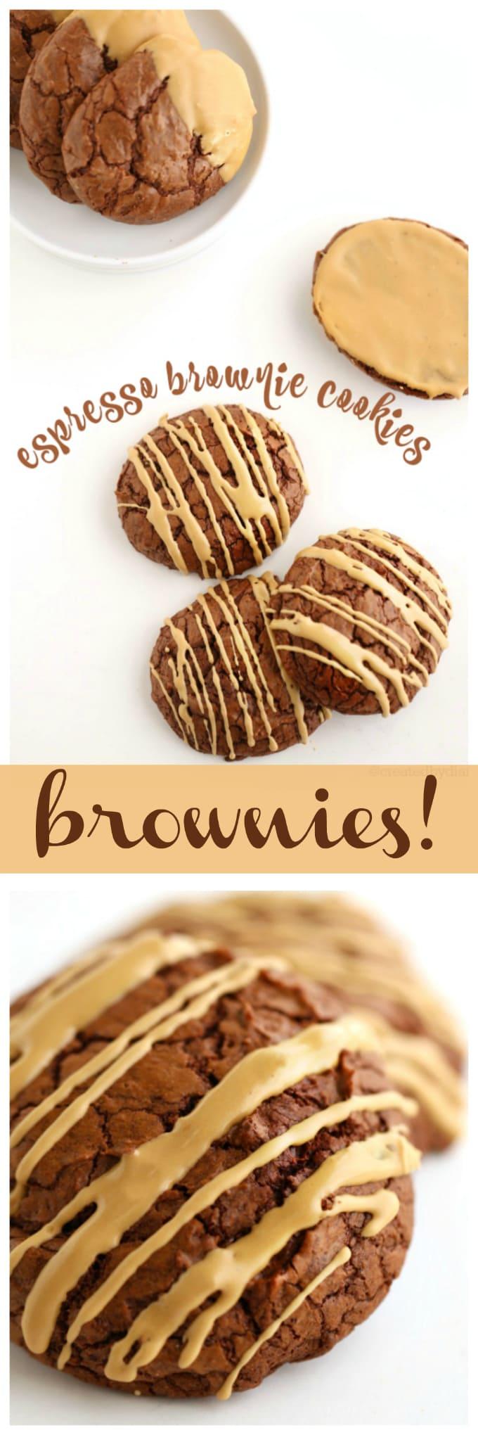 espresso brownie cookies with espresso glaze icing @createdbydiane