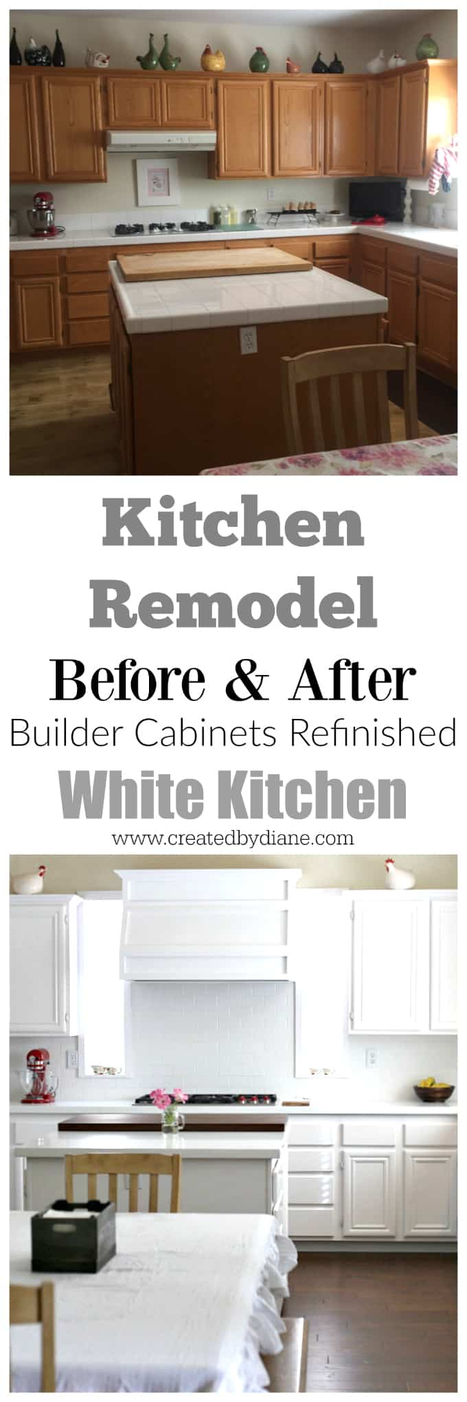 kitchen remodel before and after kitchen cabinets, wood floors, builder cabinets, white hood, white kitchen, DIY kitchen renovation, painted kitchen cabinets www.createdbydiane.com