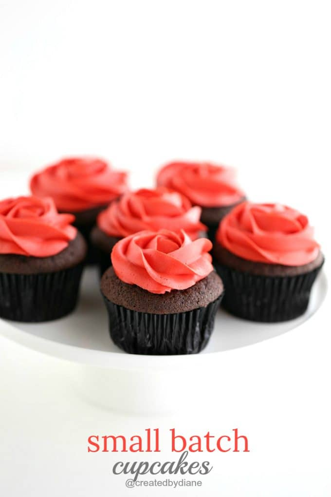 small batch cupcakes with rose frosting @createdbydiane