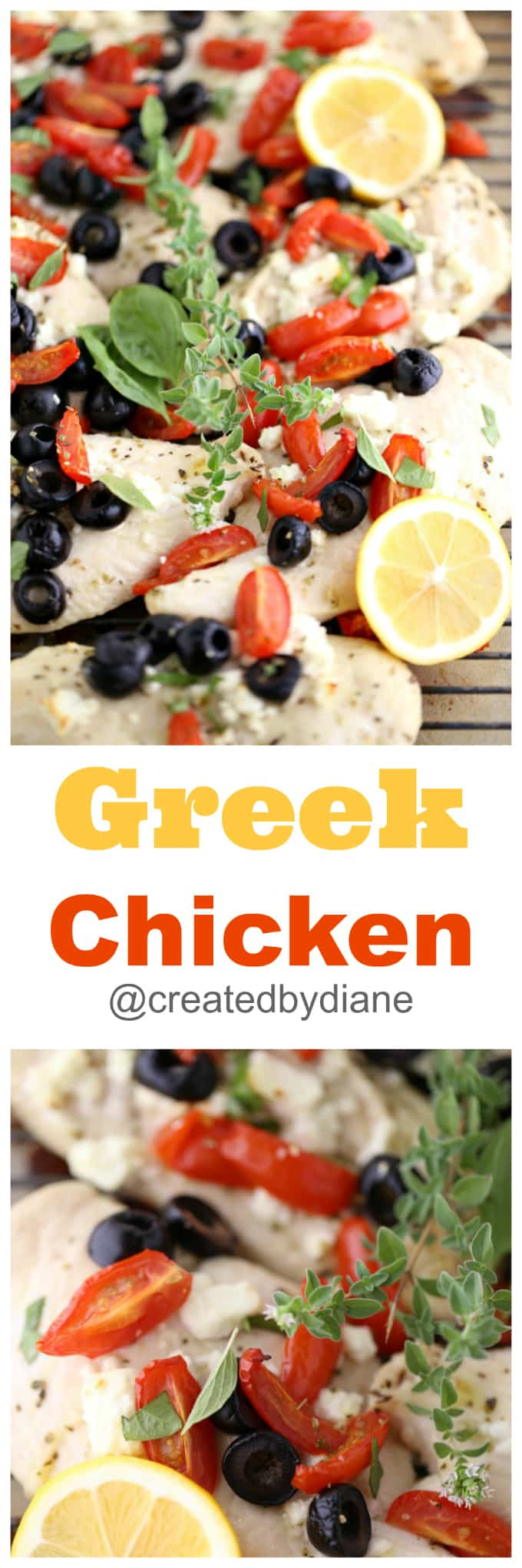 greek chicken with tomatoes, olives and feta cheese, paleo @createdbydiane