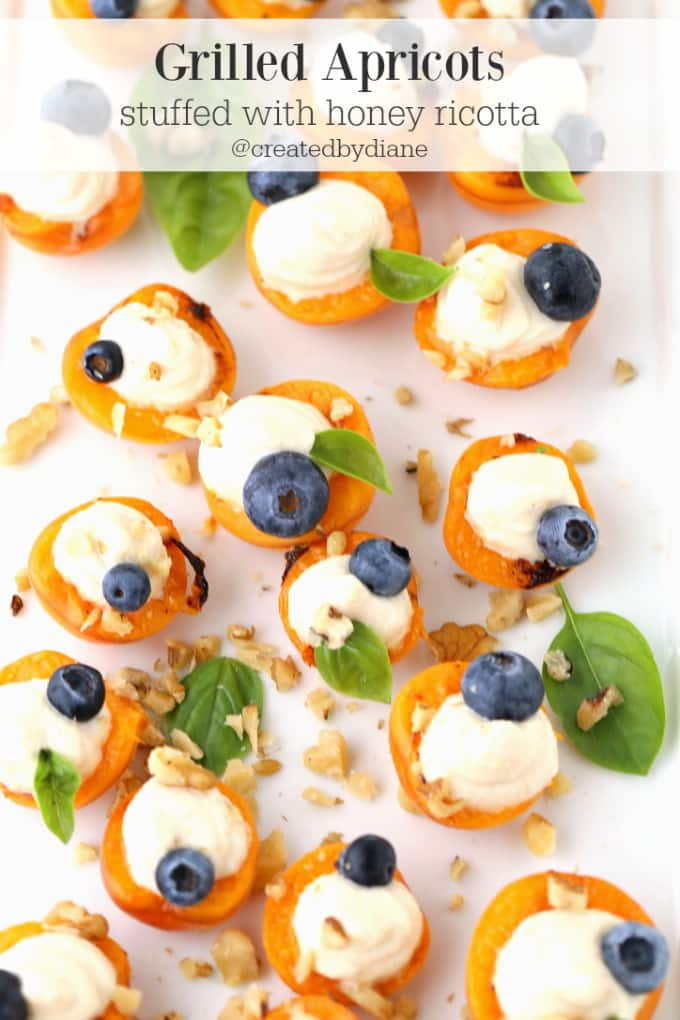 grilled apricots stuffed with honey ricotta @createdbydiane