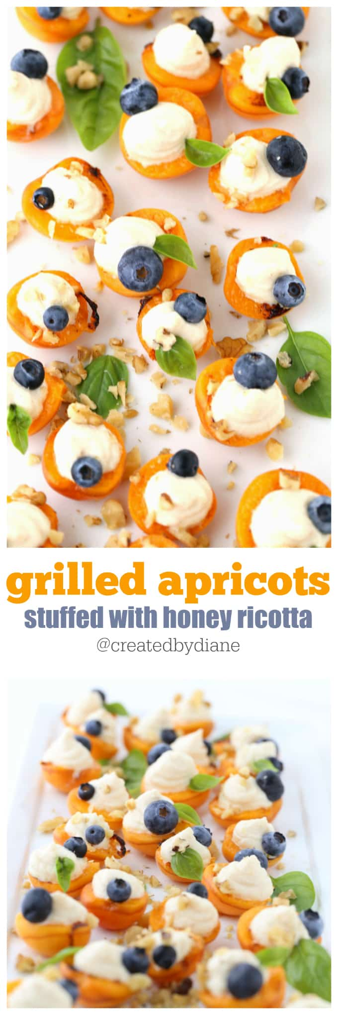 grilled apricots stuffed with honey ricotta recipe @createdbydiane