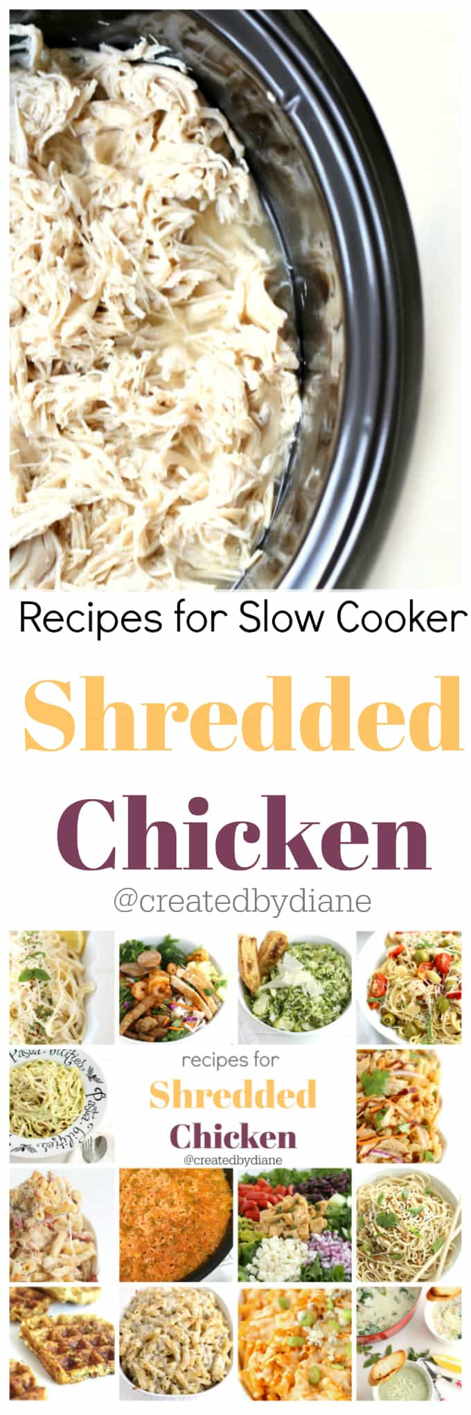 recipes for slow cooker shredded chicken @createdbydiane