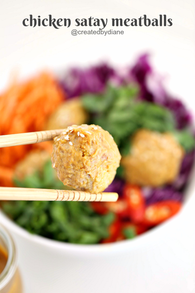 chicken satay meatball recipe @createdbydiane #peanutbutter #chicken