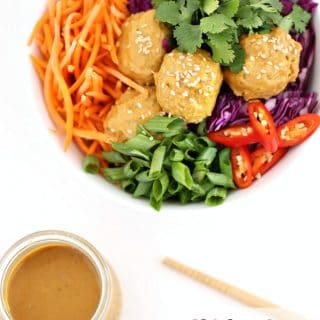 Chicken Satay Meatballs with Peanut Dipping Sauce