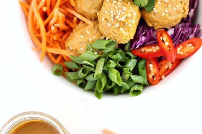 chicken satay meatballs with peanut dipping sauce @createdbydiane