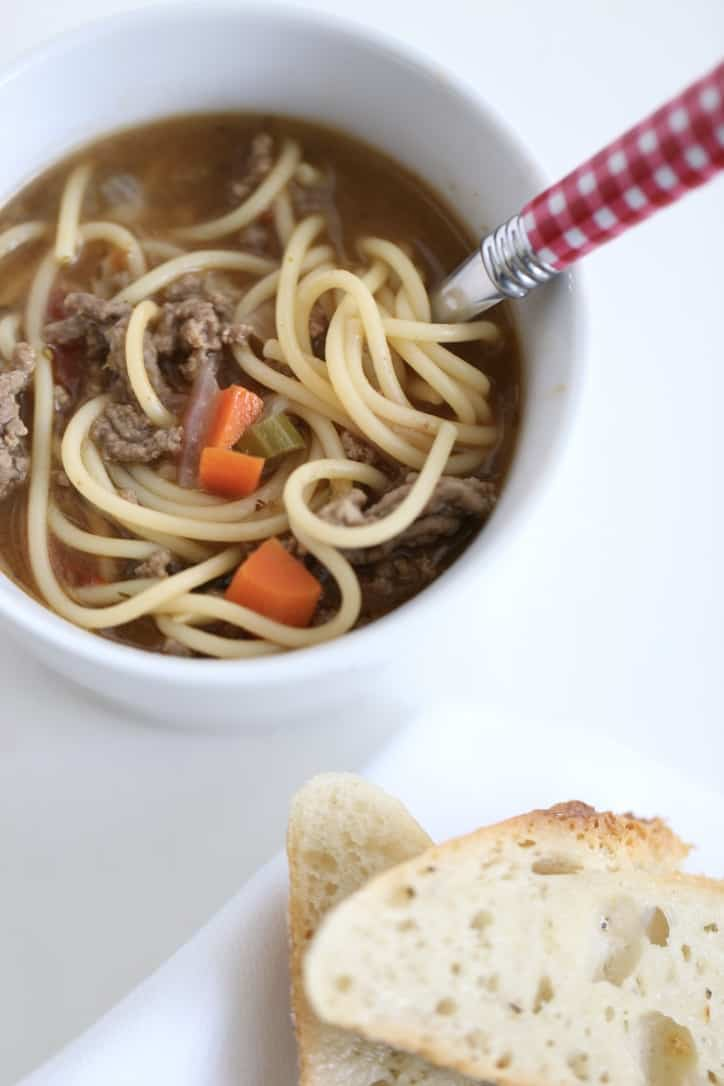 spaghetti soup, bowl of soup recipe @createdbydiane