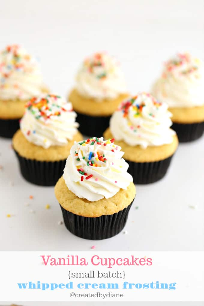 vanilla cupcakes small batch with whipped cream frosting @createdbydiane