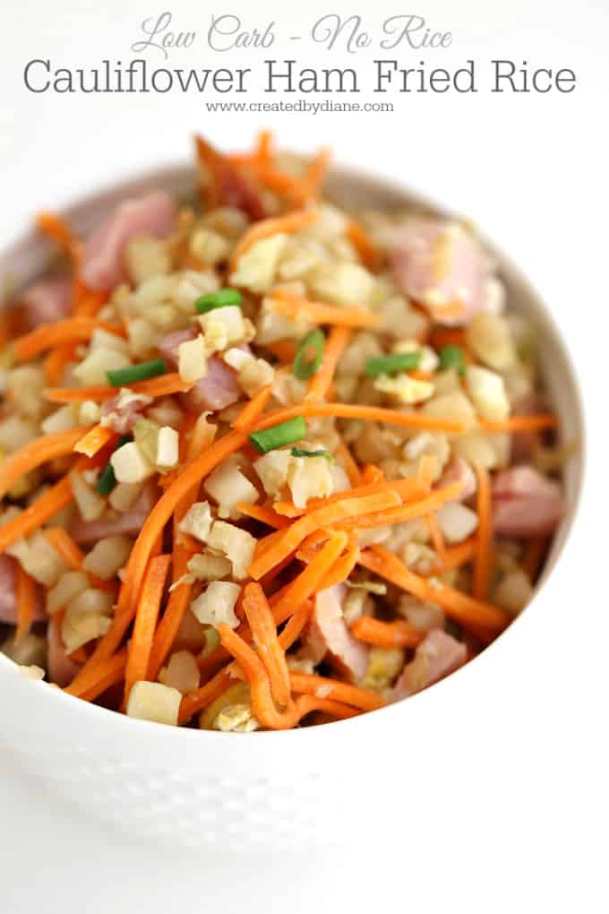 Cauliflower ham fried rice, low-carb, no rice, healthy, diet food, lose weight www.createbydiane.com