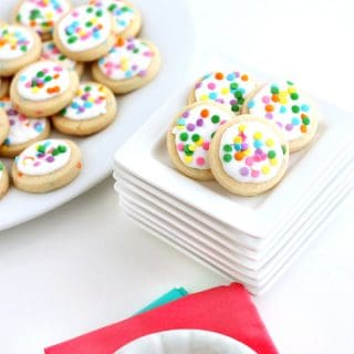 Coconut Confetti Cookie Recipe with icing and confetti sprinkles www.createdbydiane.com