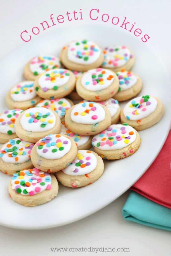 confetti cookies with round confetti sprinkles www.createdbydiane.com