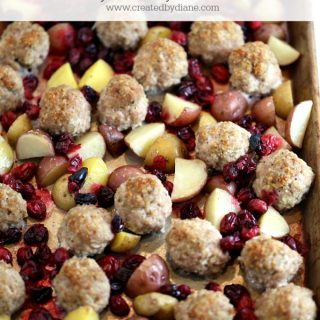 cranberry turkey meatball dinner with potatoes www.createdbydiane.com