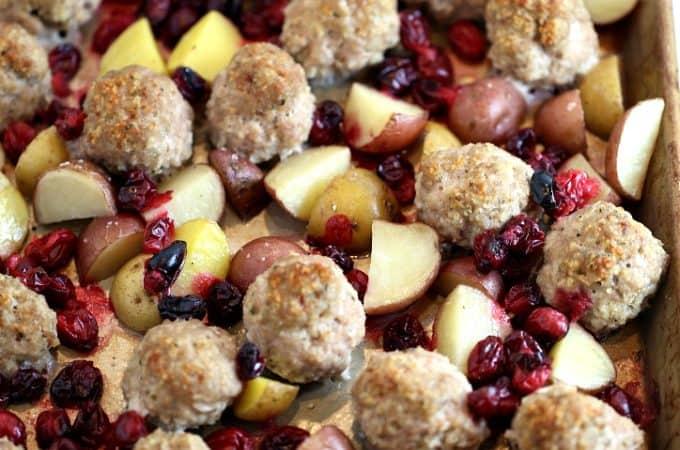 cranberry turkey meatball dinner with potatoes www.createdbydiane.com