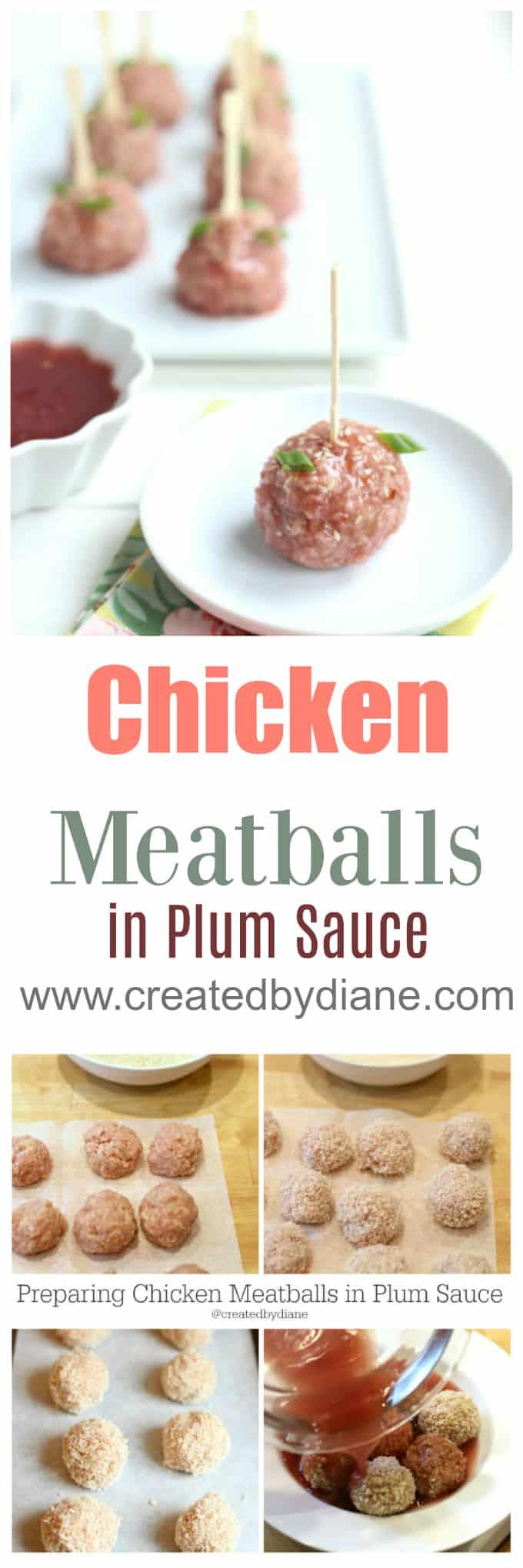 chicken meatballs in plum sauce www.createdbydiane.com
