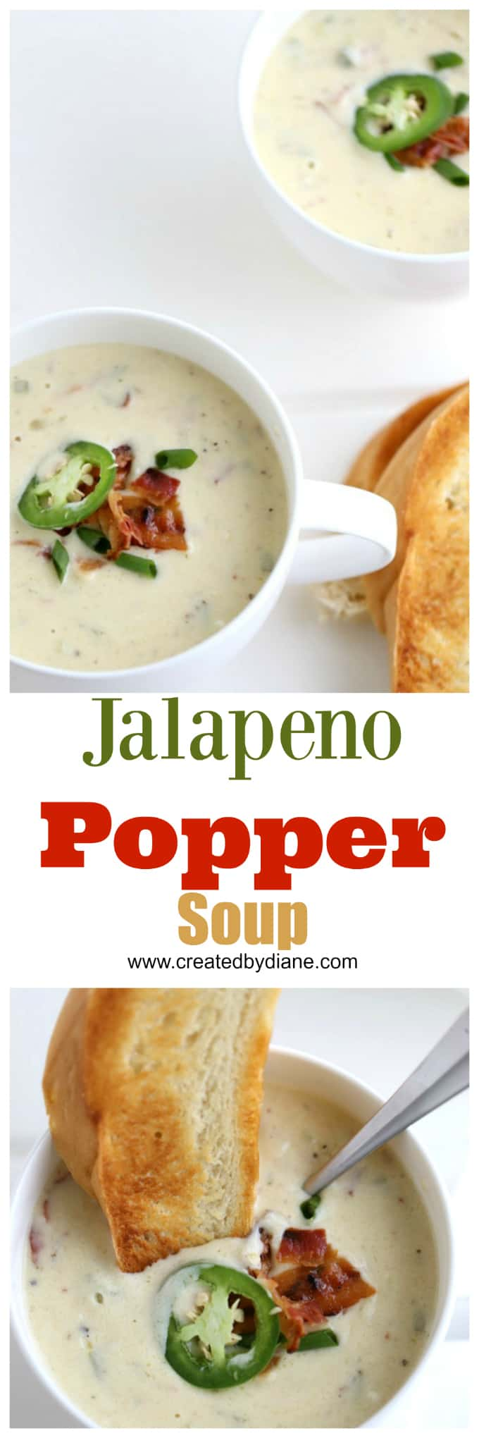 jalapeno popper soup, white bowl of thick creamy beer cheese soup with bacon and jalapenos and a slice of bread www.createdbydiane.com