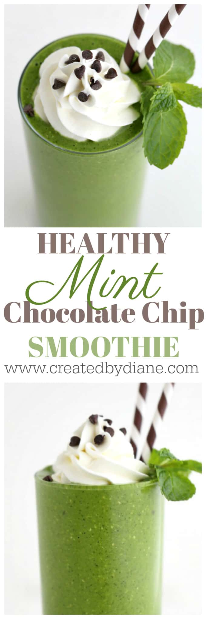 HEALTHY mint chocolate chip GREEN Smoothie recipes www.createdbydiane.com