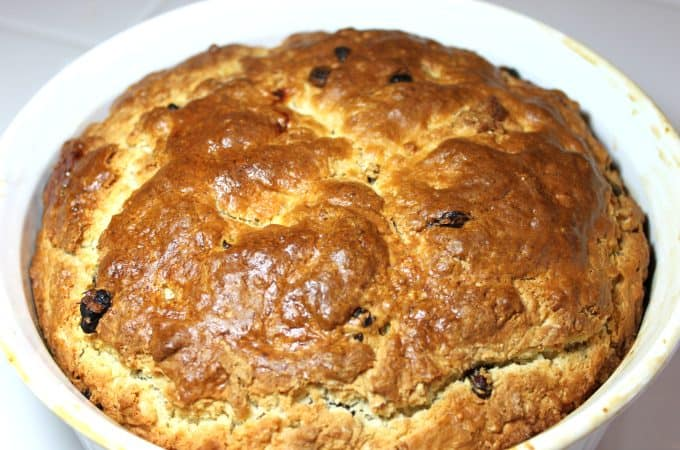 fresh baked Irish Soda Bread with Raisins in a Casserole Dish