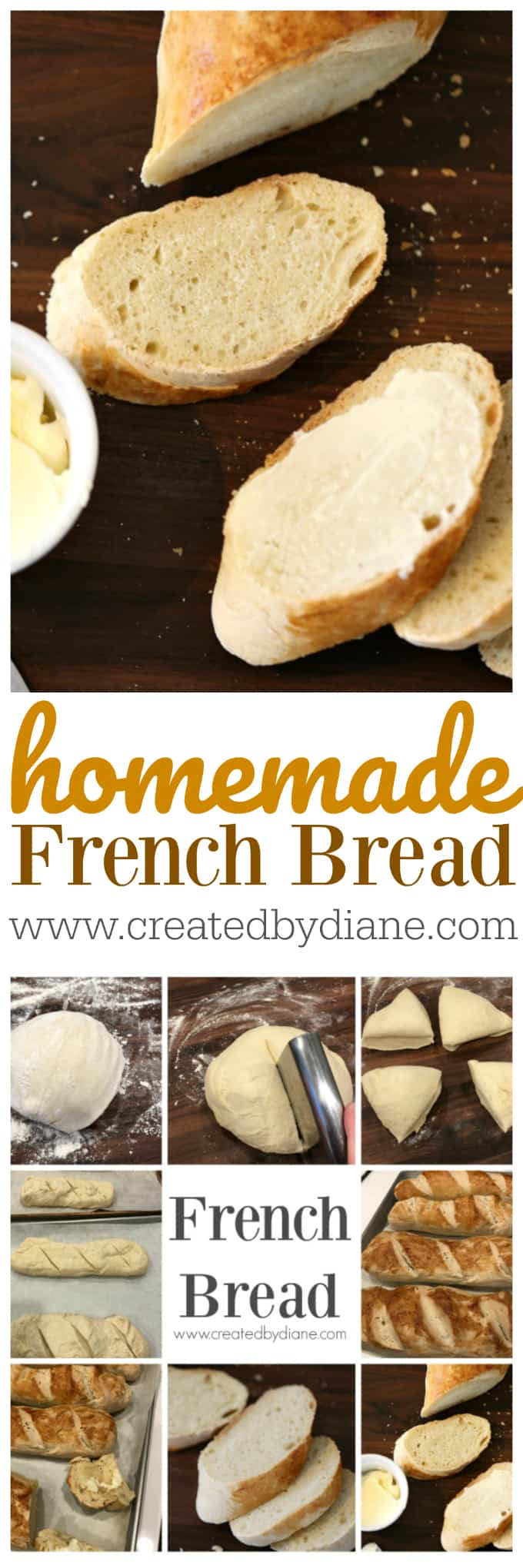 homemade french bread recipe www.createdbydiane.com
