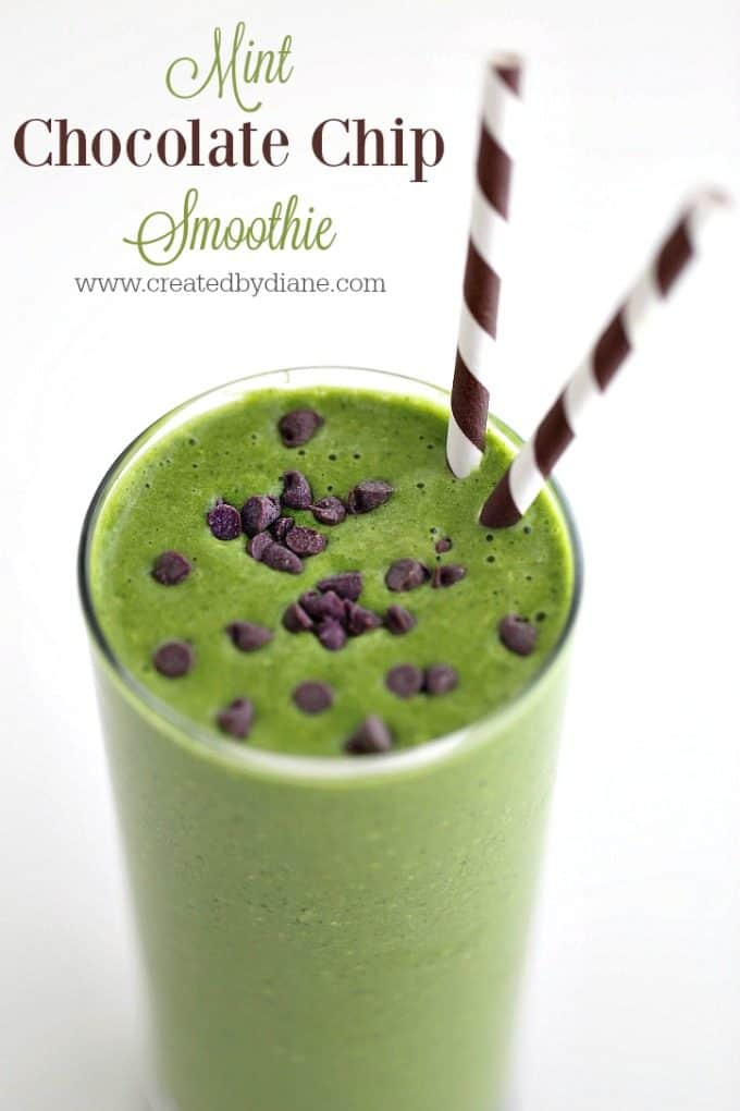 mint chocolate chip green smoothie with mint