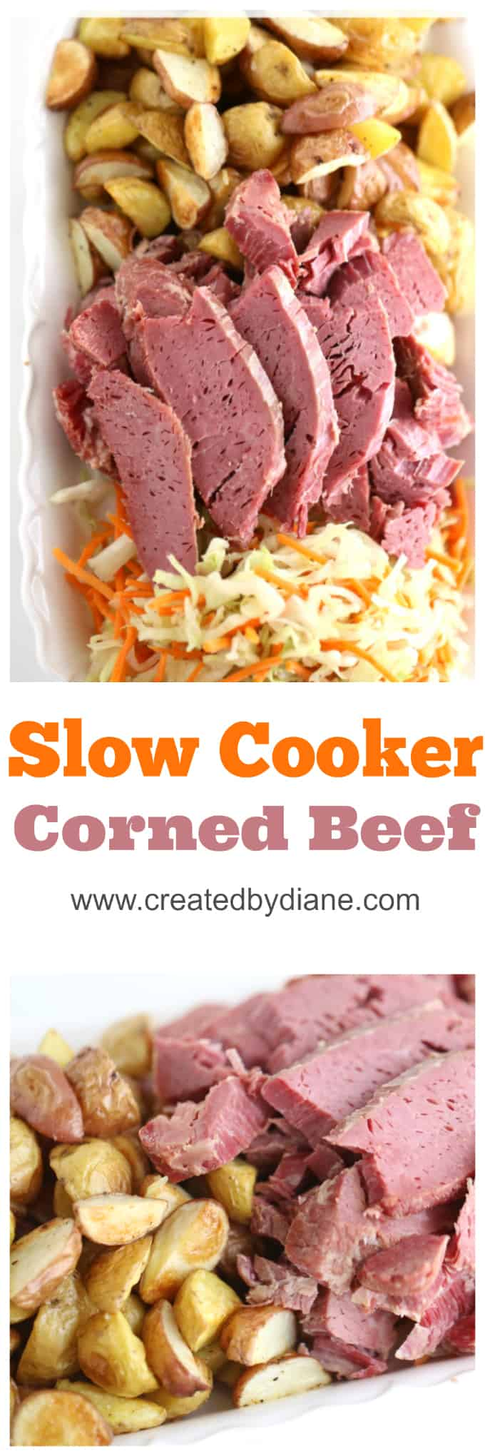sliced corned beef from the slow cooker with roasted potatoes