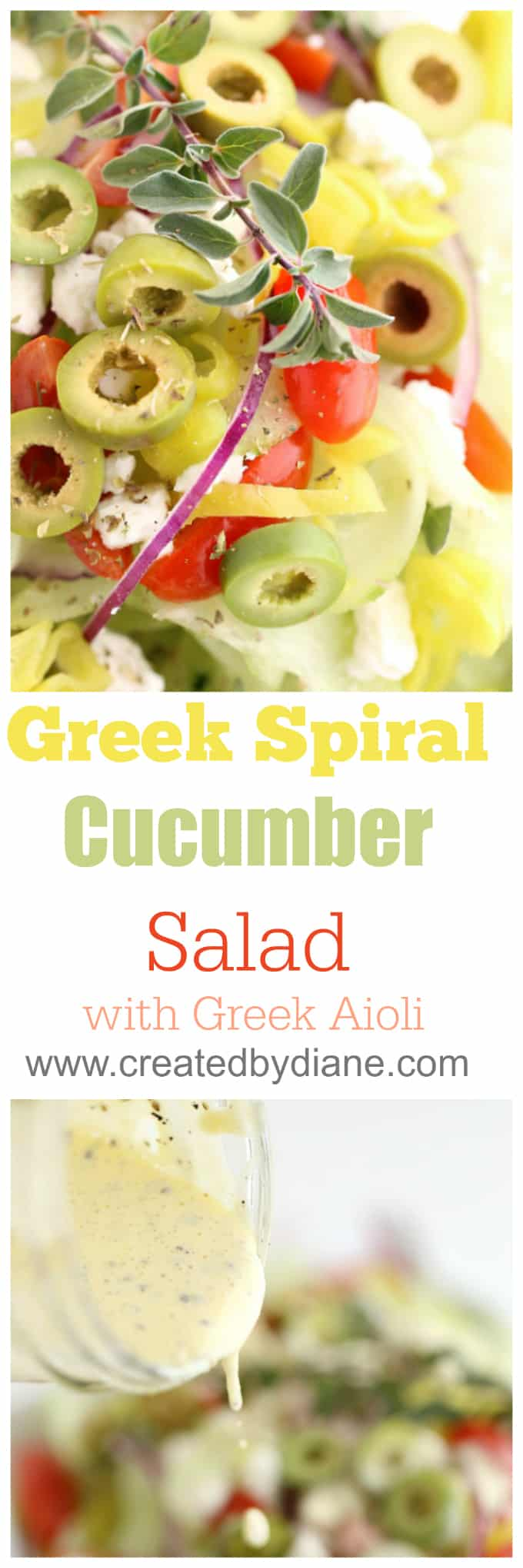 Greek Spiral Cucumber salad with Greek Aioli www.createdbydiane.com