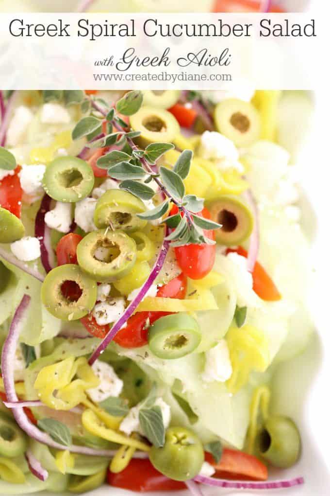 Greek Spiral cucumber Salad www.createdbydiane.com