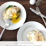Low Carb Breakfast portabella mushroom and egg with spinach and cheese www.creatdbydiane.com