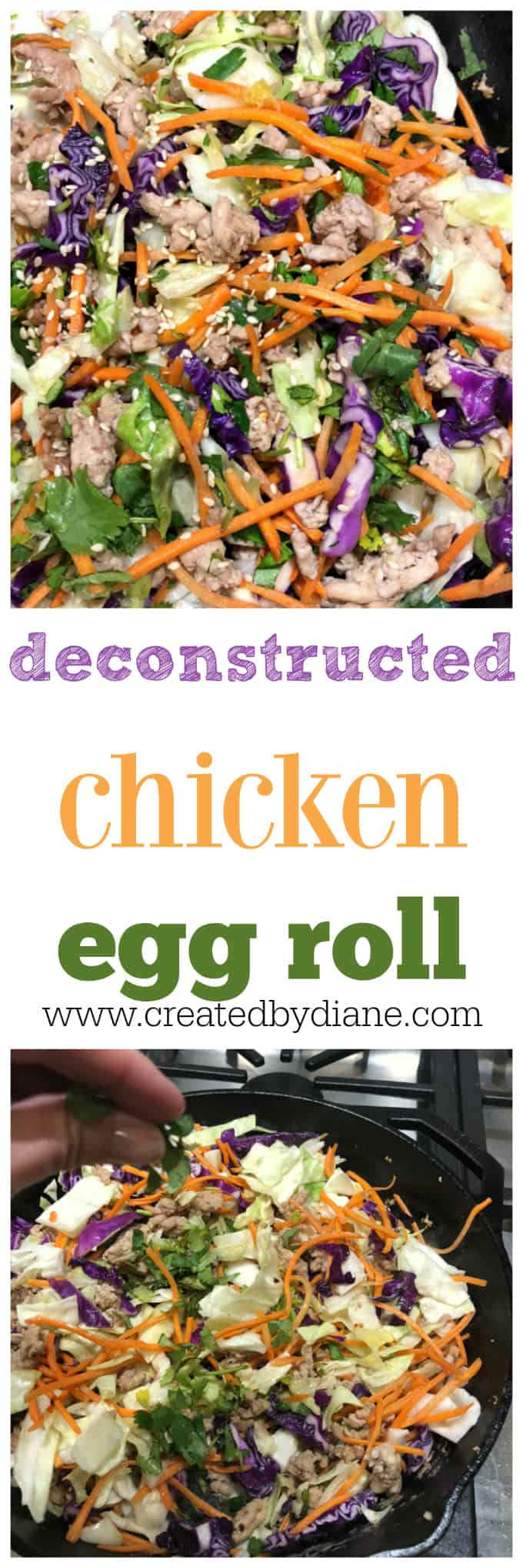 deconstructed egg roll in a bowl a delicious low carb recipe you'll enjoy many times over, takes 10 minutes to make #lowcarb #lchf #chicken