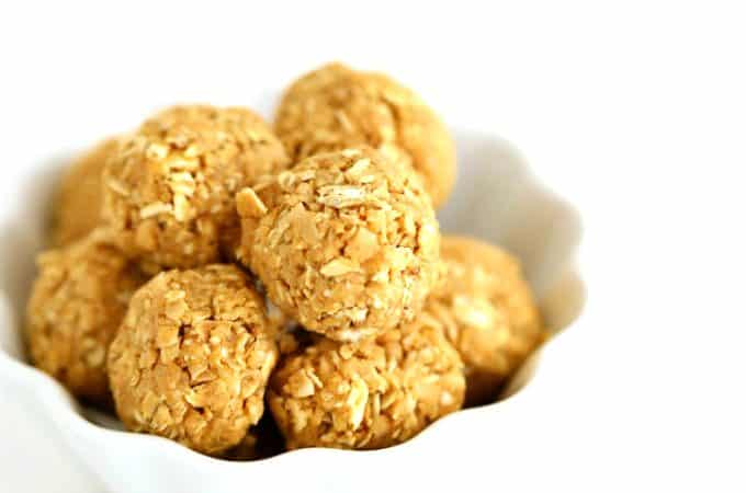 easy no bake 3 ingredient oatmeal peanut butter coconut healthy snacks no bake, www.createdbydiane.com