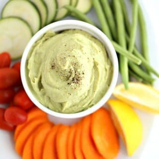 avocado bean dip with vegetables www.createdbydiane.com