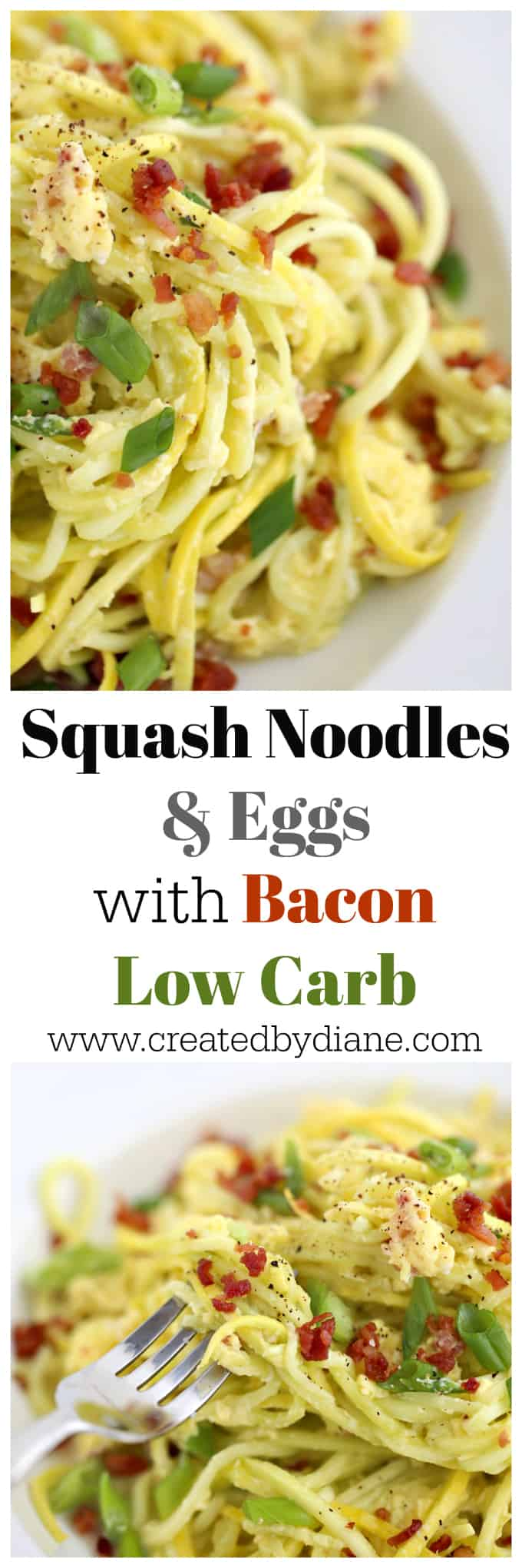 squash noodles and eggs with bacon www.createdbydiane.com