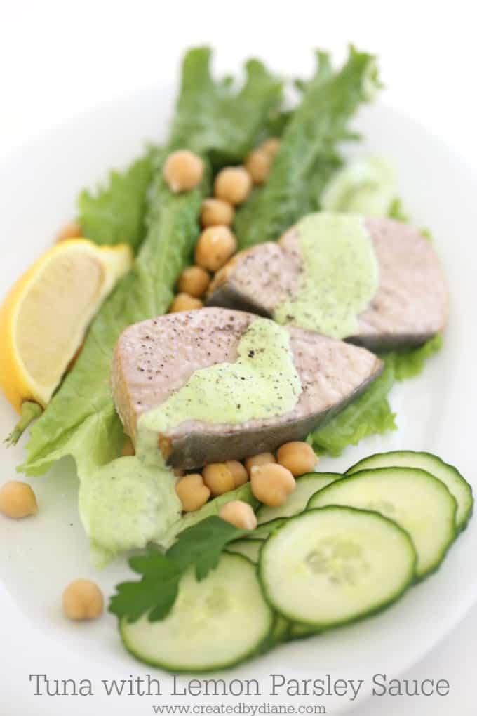 tuna with lemon parsley sauce www.createdbydiane.com