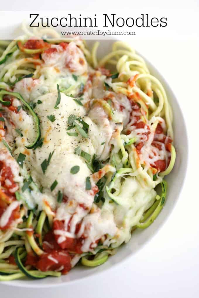 zucchini noodles, low carb meal www.createdbydiane.com