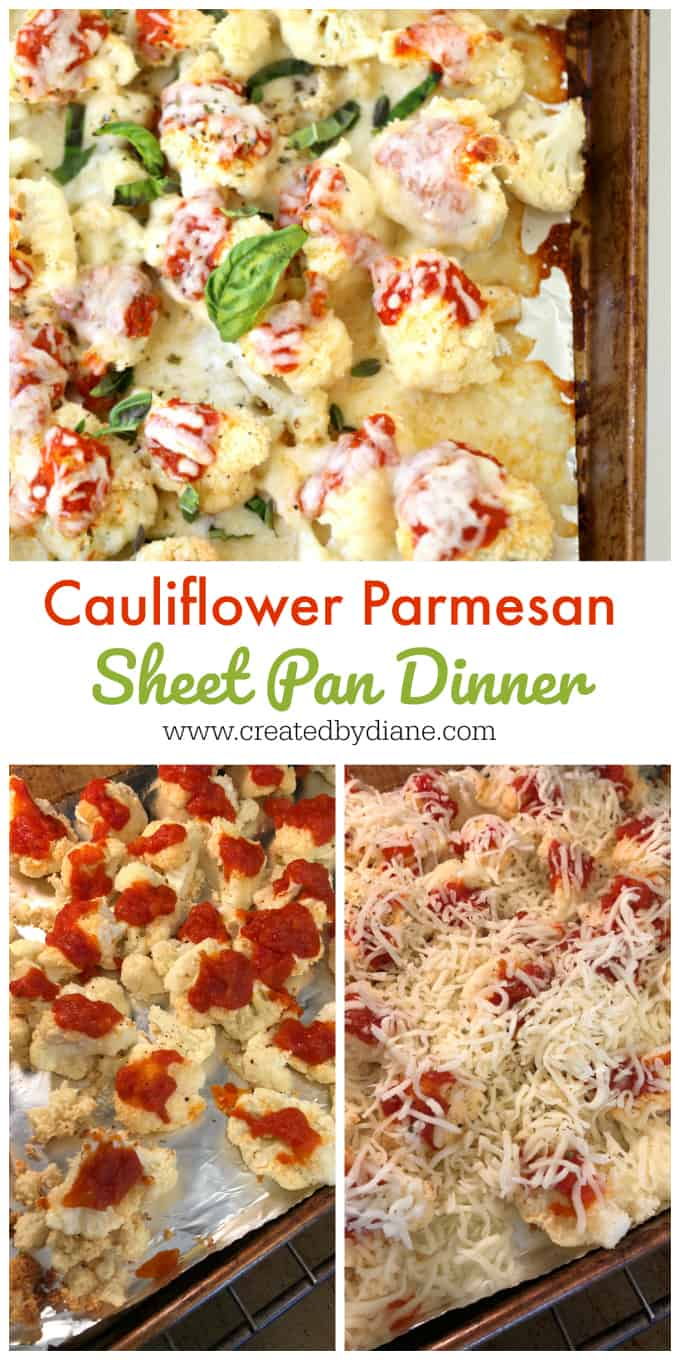 cauliflower parmesan sheet pan dinner www.createdbydiane.com