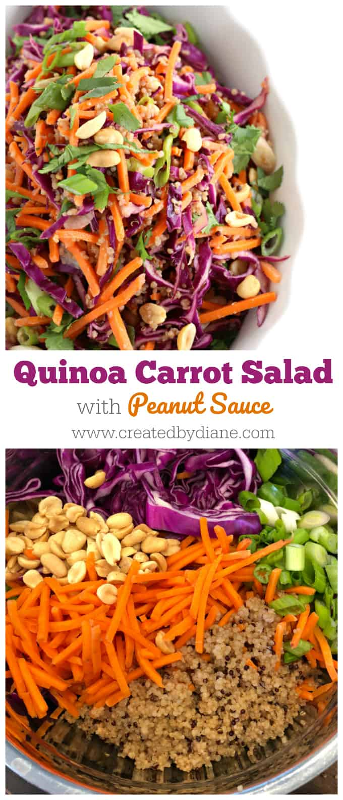 quinoa carrot salad with peanut sauce www.createdbydiane.com #lowcarb #salad #partyfood #vegetarian