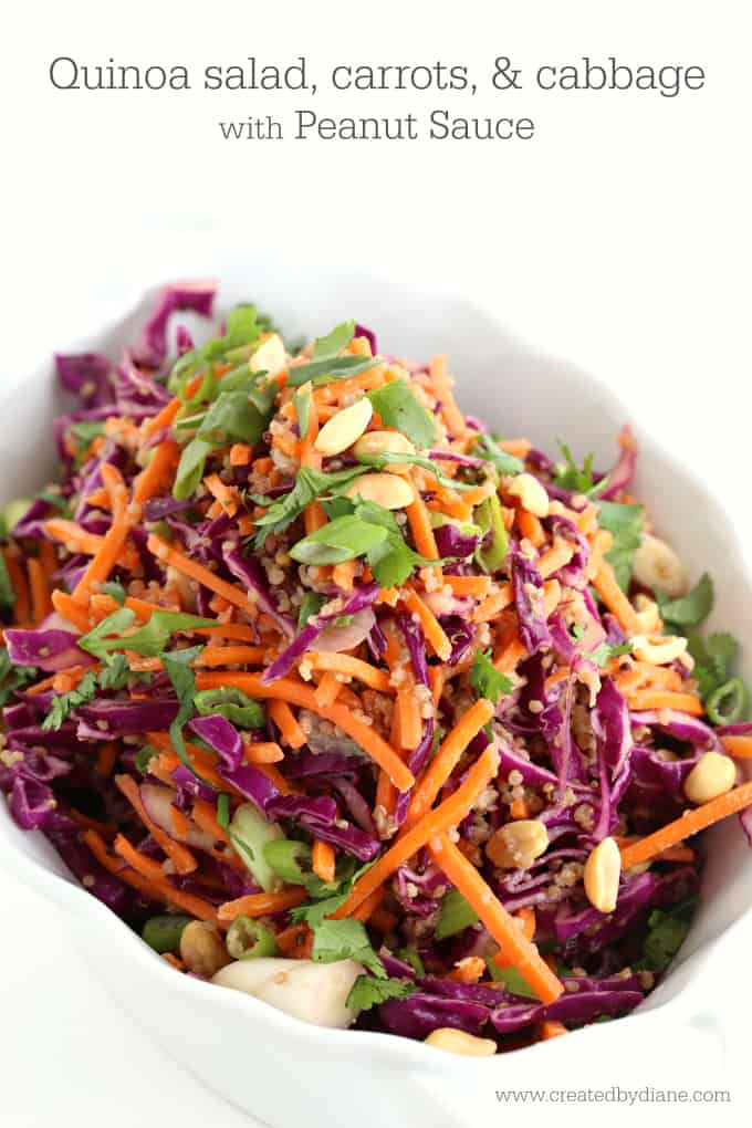 quinoa salad with carrots and cabbage with peanut sauce www.createdbydiane.com