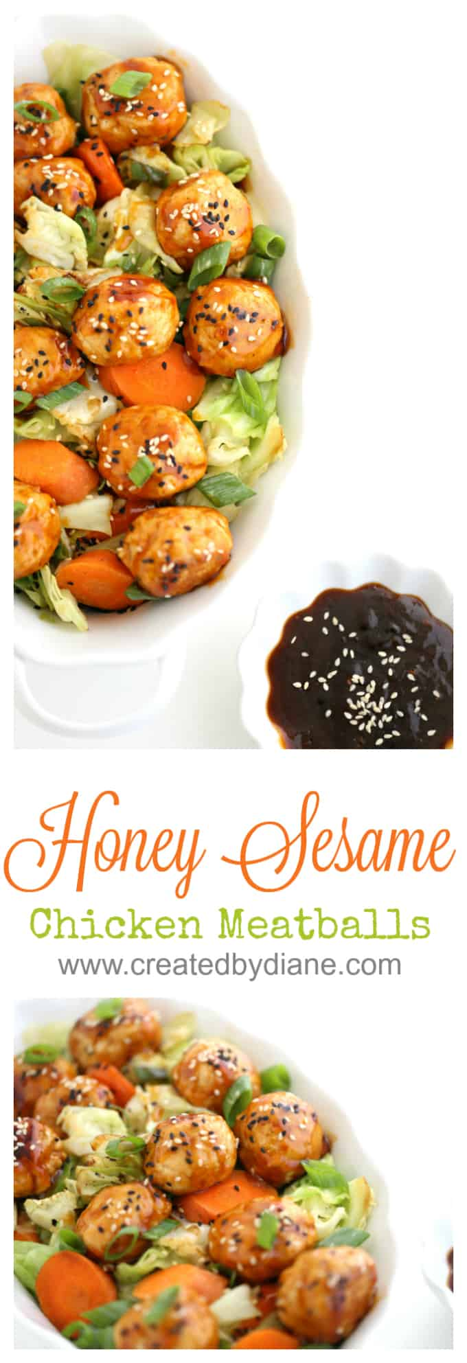 honey sesame chicken meatballs #honey #chicken www.createdbydiane.com