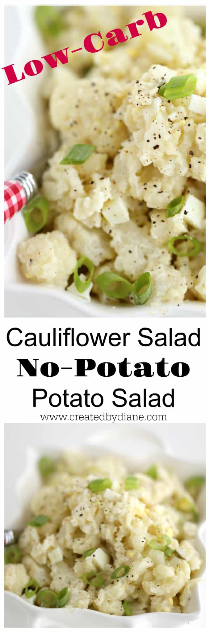 Low Carb Potato Salad Alternative, Cauliflower Salad Faux Potato Salad, Mock Potato Salad, Side Dish www.createdbydiane.com #lowcarb #cauliflower