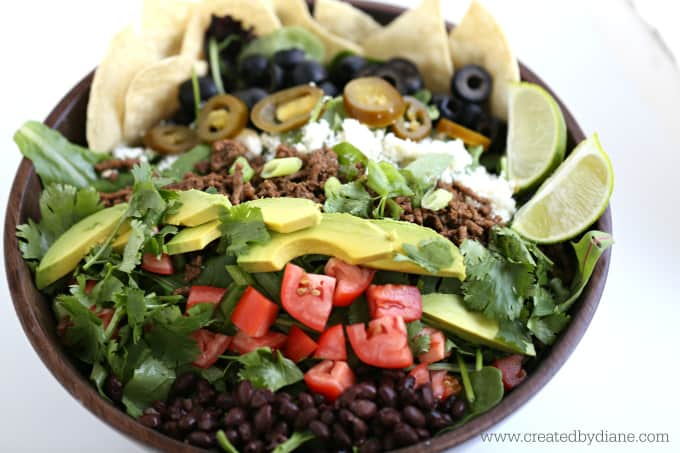 Taco Salad with Ground Beef www.createdbydiane.com